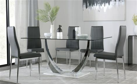 Chrome Dining Sets   Furniture Choice Pertaining To Black Glass Dining Tables With 6 Chairs (View 9 of 25)