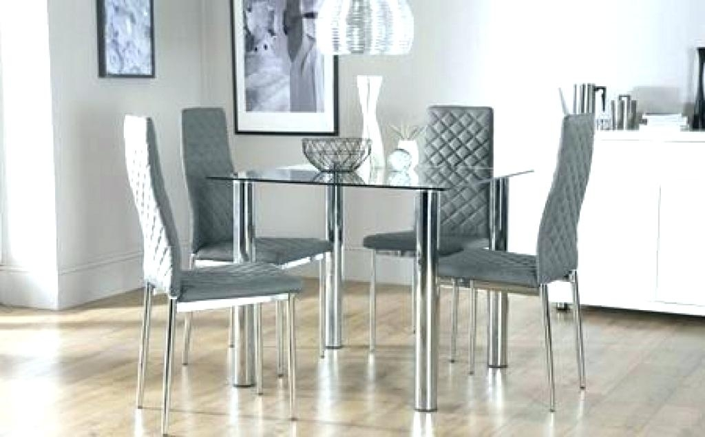 Chrome Dining Table And Chairs Oval Clear Glass Chrome Dining Table Throughout Retro Glass Dining Tables And Chairs (View 8 of 25)