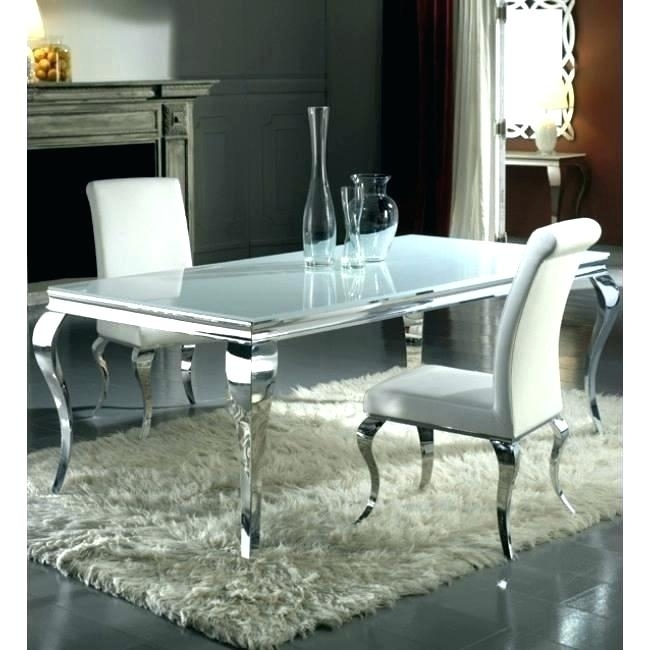 Chrome Dining Table And Chairs Oval Clear Glass Chrome Dining Table With Chrome Dining Room Sets (Image 6 of 25)