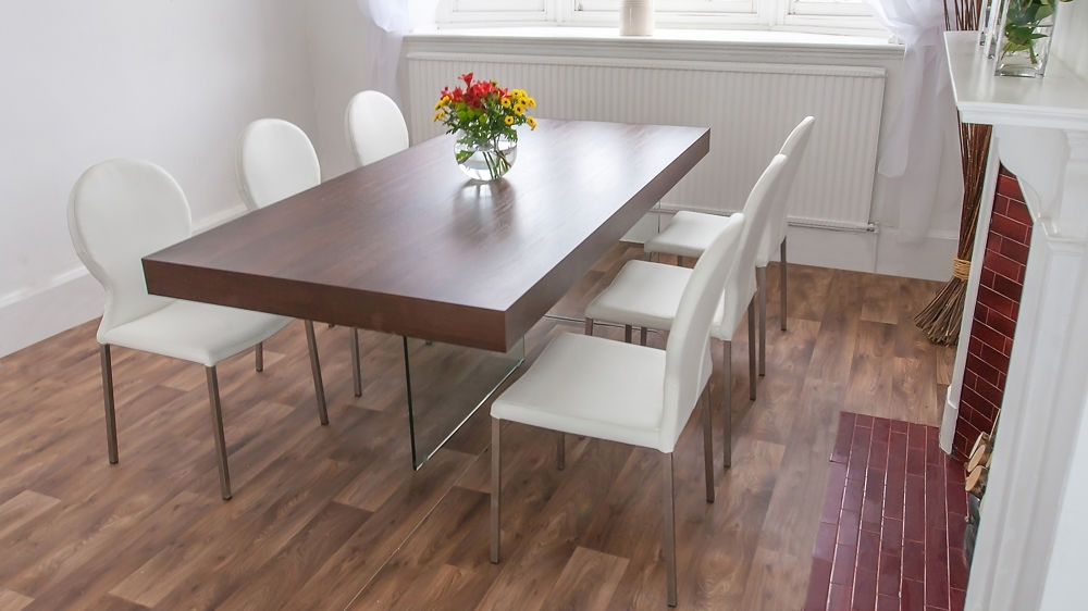 Chunky Dark Wood Dining Table   Glass Legs   Retro Designer Chairs In Dining Tables Dark Wood (Image 3 of 25)