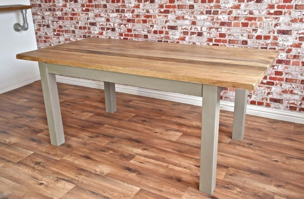 Chunky Hardwood Rustic Dining Table Six Seater Oak Farmhouse Table With Regard To Rustic Oak Dining Tables (Image 3 of 25)