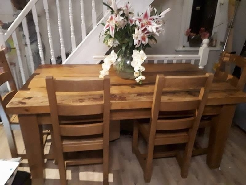 Chunky Solid Wood Dining Table And 6 Chairs, Handmade, Quality | In Intended For Chunky Solid Oak Dining Tables And 6 Chairs (Image 8 of 25)