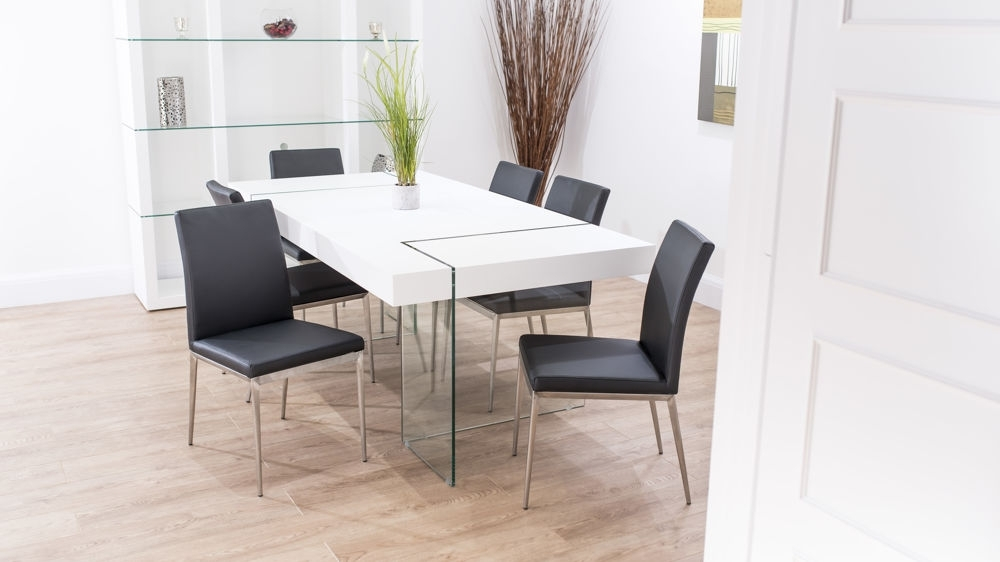 Chunky White Oak Dining Table With Glass Legs | Trendy Faux Leather Within Round Glass Dining Tables With Oak Legs (View 17 of 25)