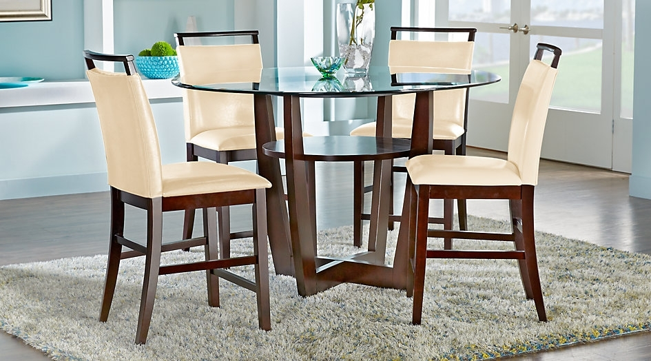 Ciara Espresso 5 Pc Counter Height Dining Set Room Sets For Design 9 Regarding Caira Extension Pedestal Dining Tables (View 10 of 25)