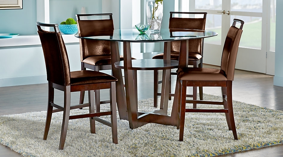 Ciara Espresso 5 Pc Counter Height Dining Set Room Sets With Regard Intended For Caira 7 Piece Rectangular Dining Sets With Upholstered Side Chairs (View 23 of 25)