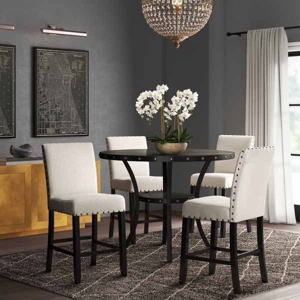Ciara Espresso 5 Pc Dining Set | Wayfair In Caira Black 5 Piece Round Dining Sets With Upholstered Side Chairs (Image 10 of 25)