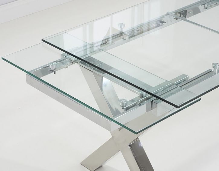 Cilento Glass Extending Dining Table | Dining Tables Pertaining To Glass Extending Dining Tables (Image 8 of 25)