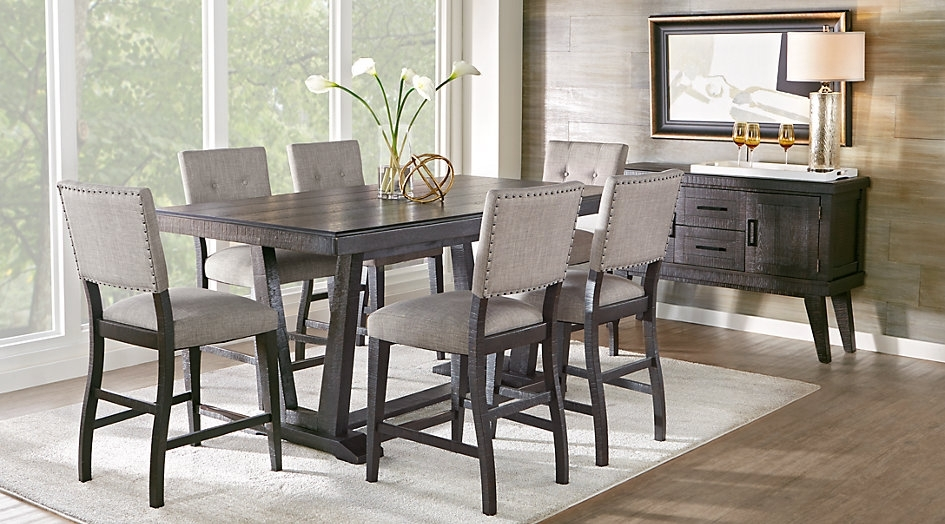 Cindy Crawford Home Highland Park Ebony 5 Pc Counter Height Dining Within Crawford 6 Piece Rectangle Dining Sets (Image 11 of 25)