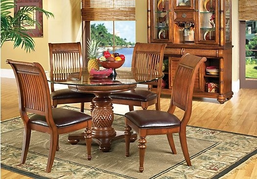 Cindy Crawford Home Key West Dark 5 Pc Pedestal Dining Room | Beach Throughout Crawford 6 Piece Rectangle Dining Sets (Image 12 of 25)