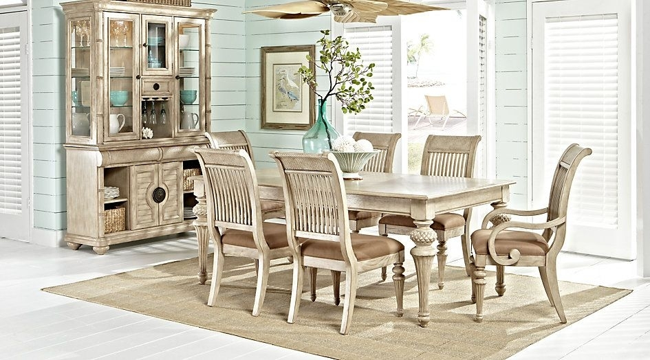 Cindy Crawford Home Key West Sand 5 Pc Rectangle Dining Room With Within Crawford Rectangle Dining Tables (Image 4 of 25)