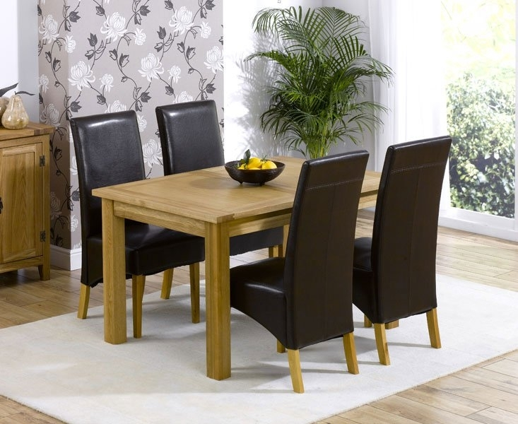 Cipriano Extending Oak Dining Table And 4 Leather Chairs Pertaining To Extending Oak Dining Tables And Chairs (Image 6 of 25)