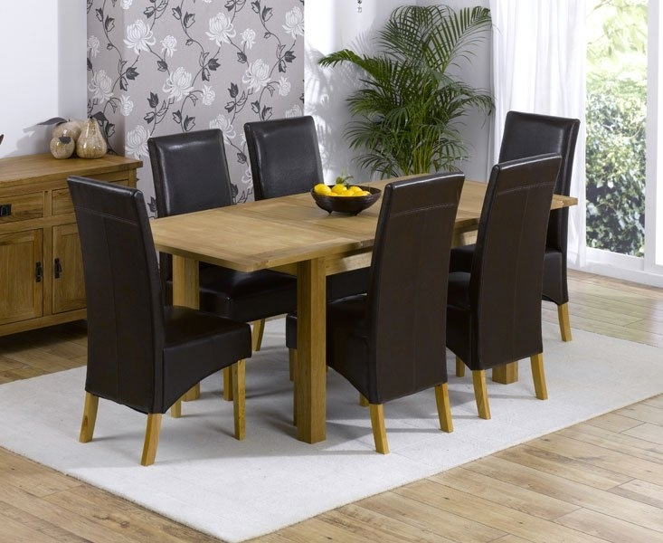 Cipriano Extending Oak Dining Table And 6 Leather Chairs Inside Cheap Oak Dining Tables (Image 7 of 25)