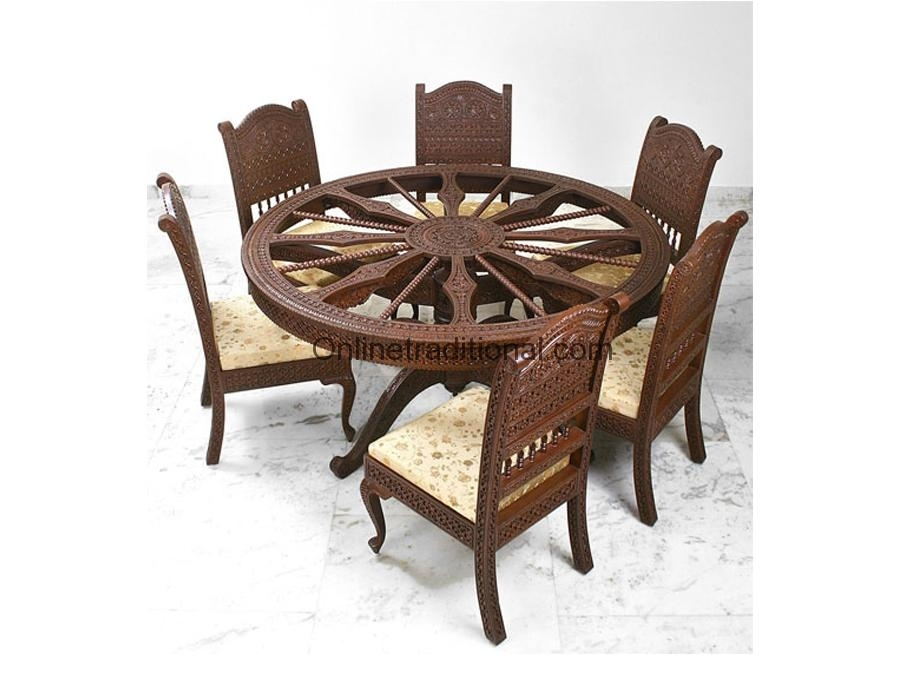 Circular Shape Teak Wooden Dining Table For Home | Pearl Handicrafts For Indian Dining Room Furniture (View 25 of 25)