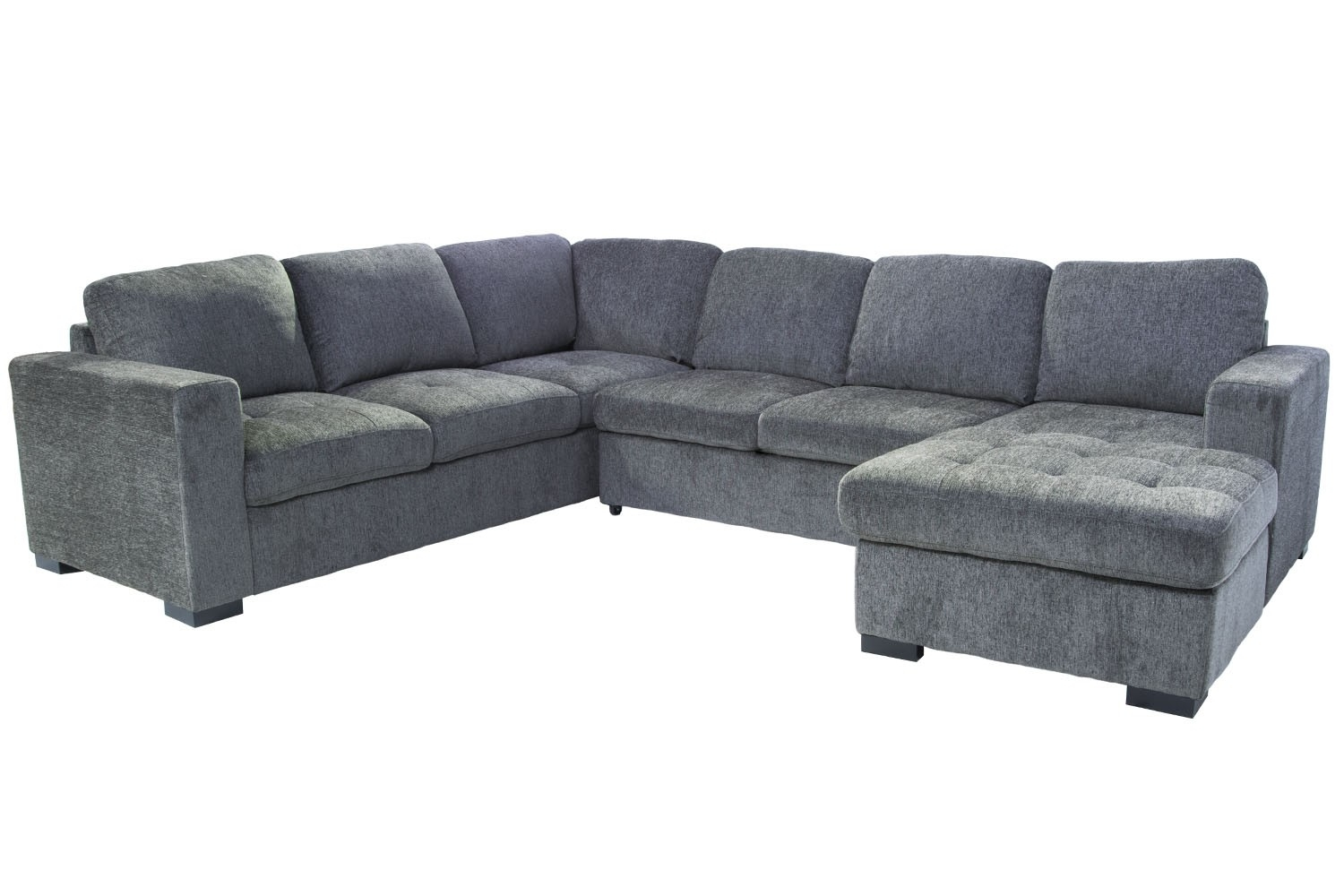 Claire 3 Piece Right Facing Chaise Sectional In Gray | Save Mor Inside Aquarius Light Grey 2 Piece Sectionals With Laf Chaise (Image 8 of 25)