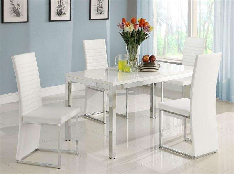 Clarice Collection Dining Set Intended For White Dining Sets (Image 5 of 25)