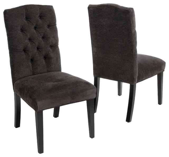 Clark Tufted Back Dark Gray Fabric Dining Chairs, Set Of 2 Intended For Fabric Dining Chairs (Image 5 of 25)