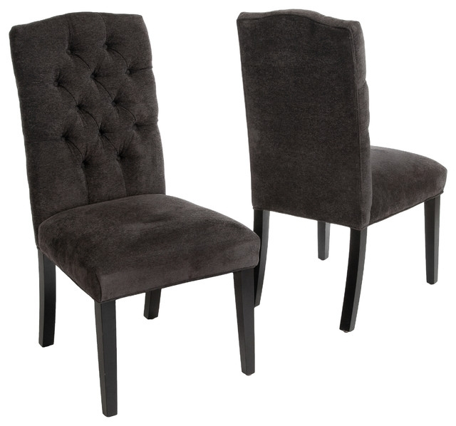 Clark Tufted Back Dark Gray Fabric Dining Chairs, Set Of 2 Within Fabric Covered Dining Chairs (Image 4 of 25)