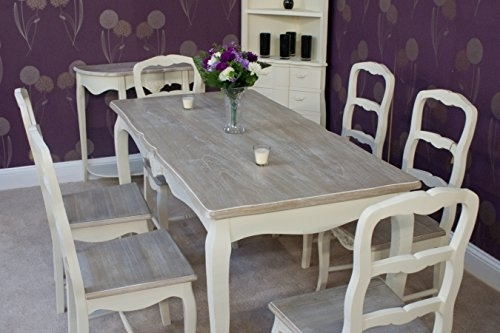 Classic Casamore Devon Rectangular Dining Table And 6 Dining Chairs With Shabby Chic Dining Chairs (View 16 of 25)