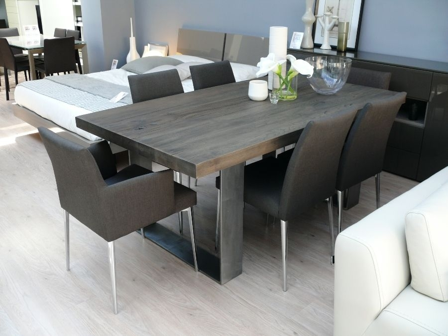 Classy Grey Wood Dining Set New Arrival Modena Table In Wash Room With Regard To Jaxon Grey Rectangle Extension Dining Tables (Image 6 of 25)
