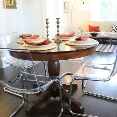Clear Acrylic Dining Chairs Paired With Traditional Pedestal Table Intended For Clear Plastic Dining Tables (View 25 of 25)