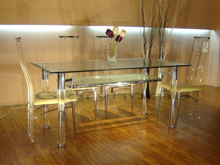 Clear Acrylic Dining Table Dinette Tables Round Kitchen Table Sets Within Round Acrylic Dining Tables (Image 9 of 25)