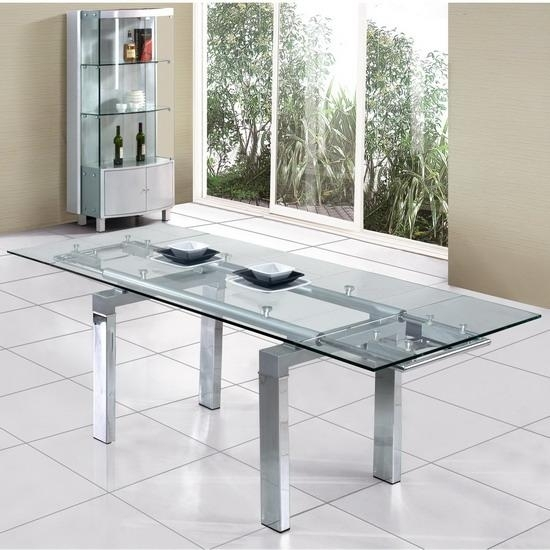Clear Extendable Glass Dining Table @ Homehighlight.co (Image 3 of 25)