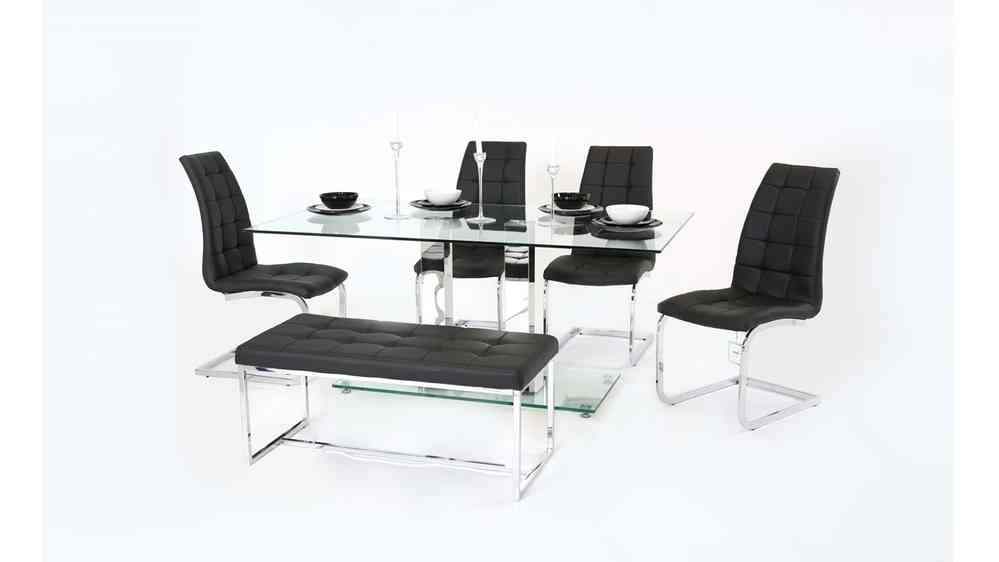 Clear Glass Dining Table With Chair And Bench Set – Homegenies In Clear Glass Dining Tables And Chairs (Image 8 of 25)