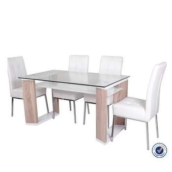Clear Top Mdf Legs Two Layer Glass Dining Tables For Sale – Buy Within Glass Dining Tables With Wooden Legs (Image 7 of 25)