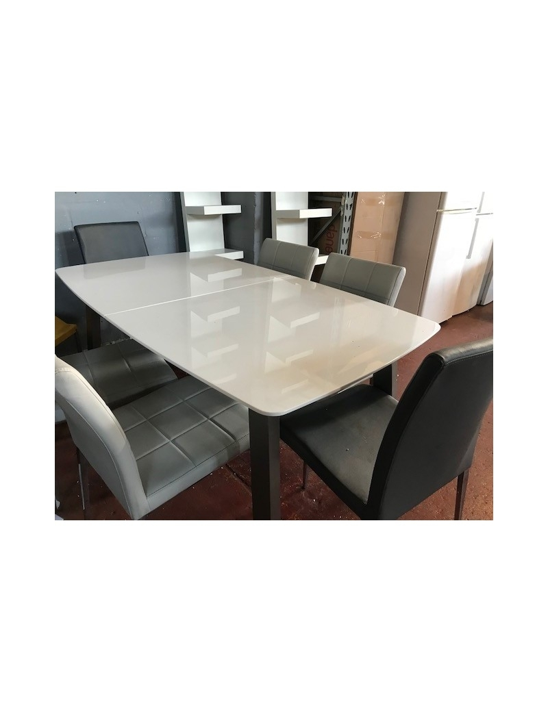 Clearance Stock High White Gloss Extendable Modern Dining Table Within Brushed Metal Dining Tables (Image 3 of 25)
