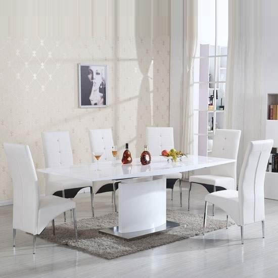Clintock Extendable Dining Set White Gloss And 6 Vesta For White Gloss Dining Chairs (Image 5 of 25)
