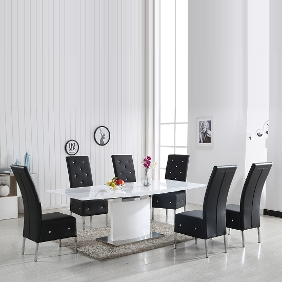 Clintock High Gloss Dining Table And 6 Asam Black Chairs Within White Gloss Dining Chairs (Image 6 of 25)