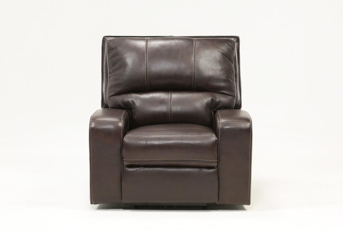 Clyde Dark Brown Leather Power Recliner W/power Headrest & Usb Inside Clyde Saddle 3 Piece Power Reclining Sectionals With Power Headrest & Usb (Image 8 of 25)