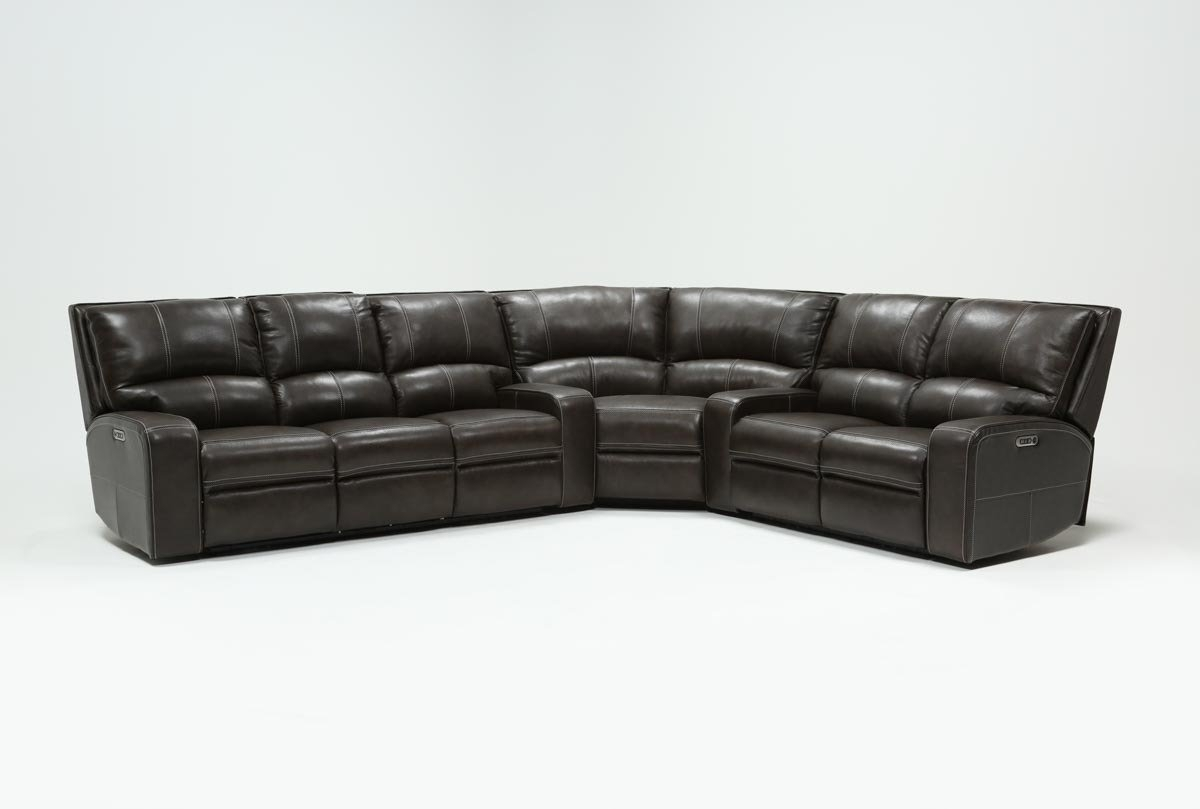 Featured Image of Clyde Grey Leather 3 Piece Power Reclining Sectionals With Pwr Hdrst & Usb