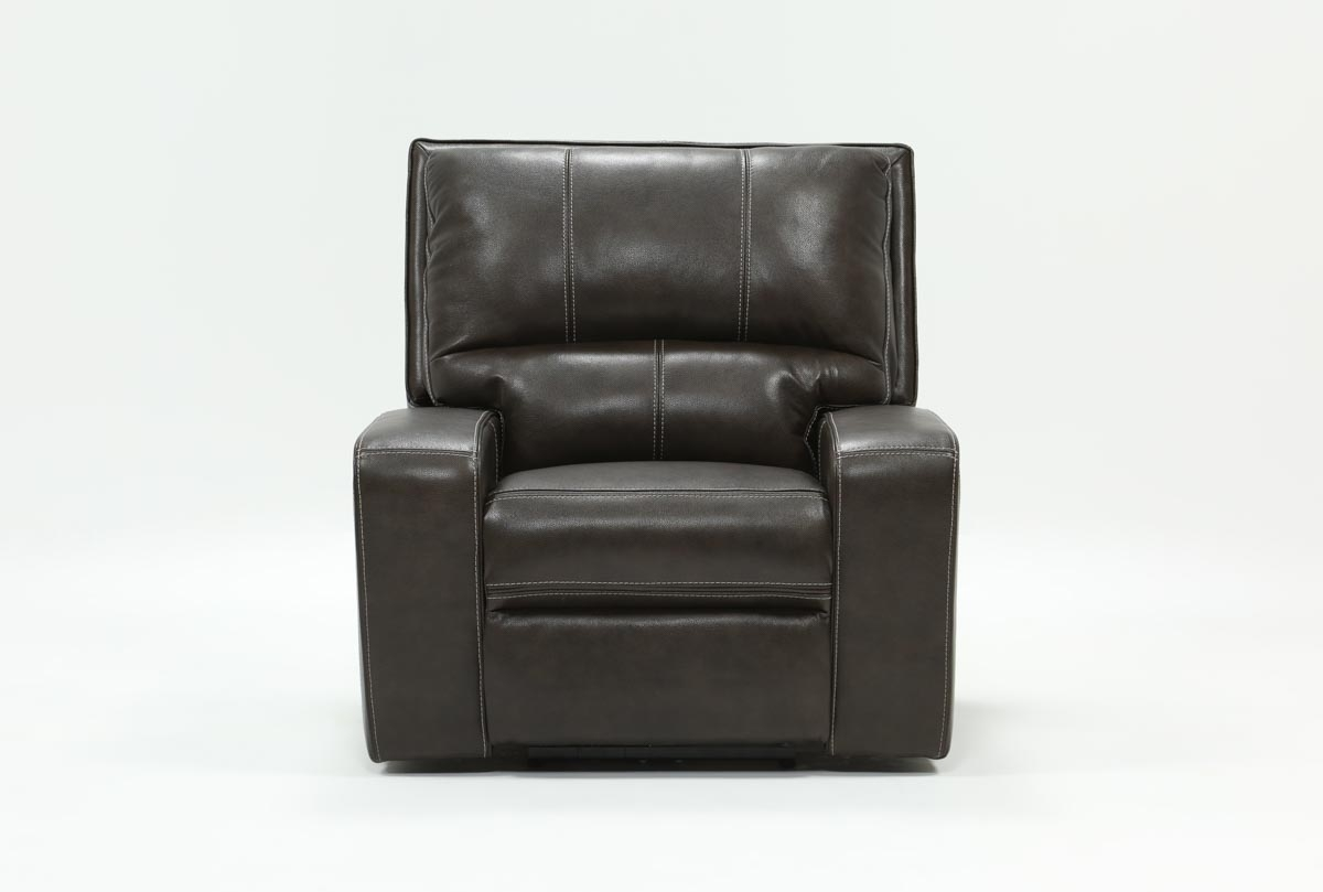 Clyde Grey Leather Power Recliner W/power Headrest & Usb | Living Spaces Within Clyde Grey Leather 3 Piece Power Reclining Sectionals With Pwr Hdrst & Usb (Image 2 of 25)