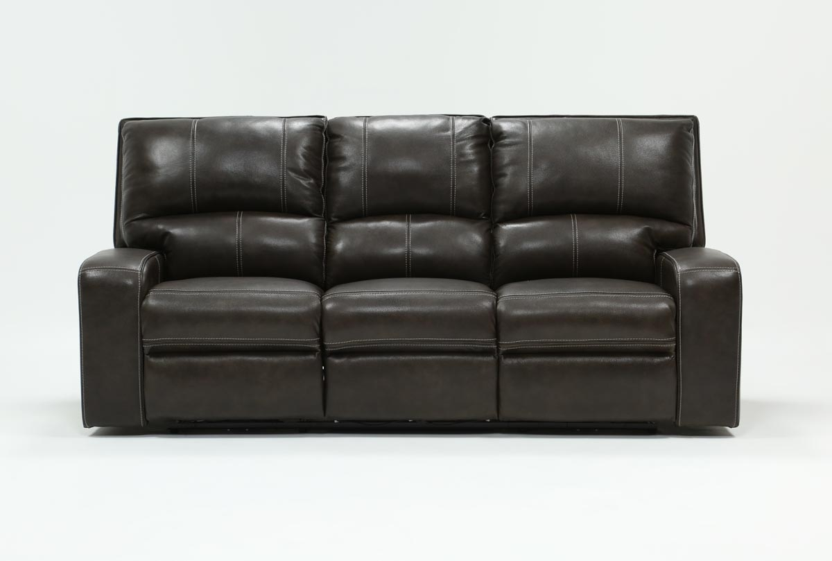 Clyde Grey Leather Power Reclining Sofa W/power Headrest & Usb Throughout Marius Dark Grey 3 Piece Sectionals (View 1 of 25)