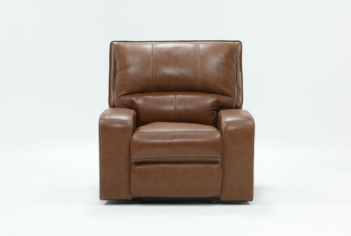 Clyde Saddle Leather Power Recliner W/power Headrest And Usb For Clyde Saddle 3 Piece Power Reclining Sectionals With Power Headrest & Usb (Image 10 of 25)