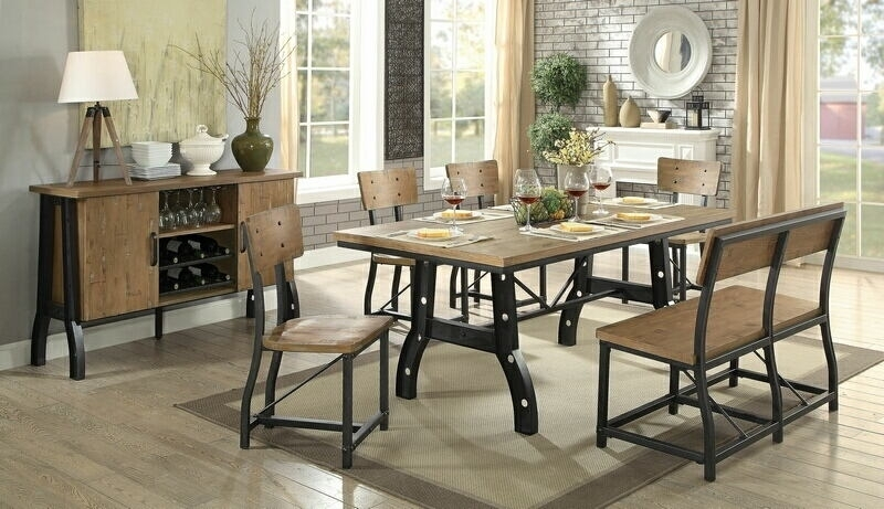 Cm3573T 6Pc 6 Pc Kirstin Industrial Style Metal Trestle Base With Within Kirsten 6 Piece Dining Sets (Image 11 of 25)