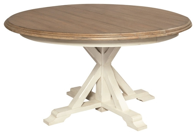 "Coastal Beach White Oak Round Expandable Dining Table 54"" – Beach Inside White Square Extending Dining Tables (Image 5 of 25)"