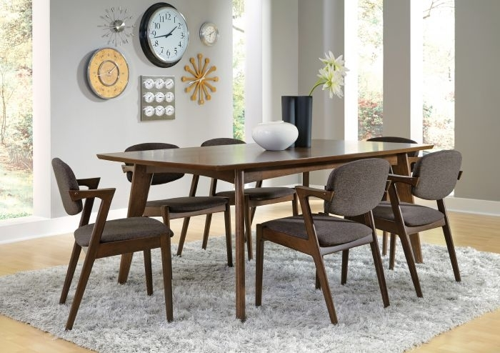 Coaster 105351 Malone 7 Piece Walnut Dining Set Throughout Walnut Dining Table Sets (Image 7 of 25)