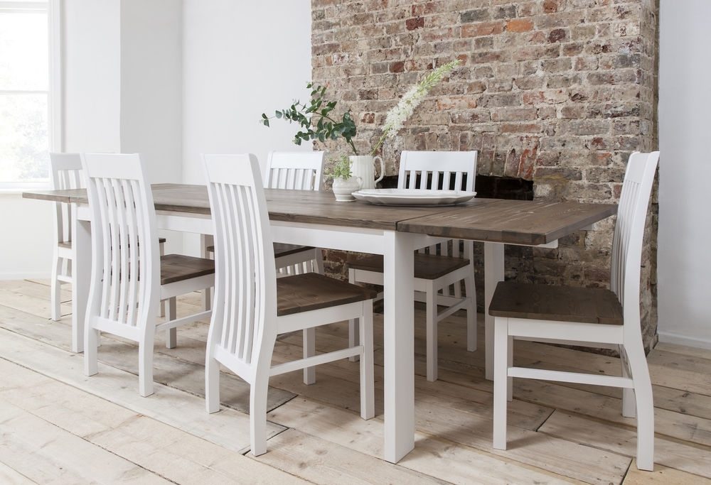 Coaster Addison White And Dark Wood Dining Table With Round Dining In Extendable Dining Room Tables And Chairs (View 25 of 25)