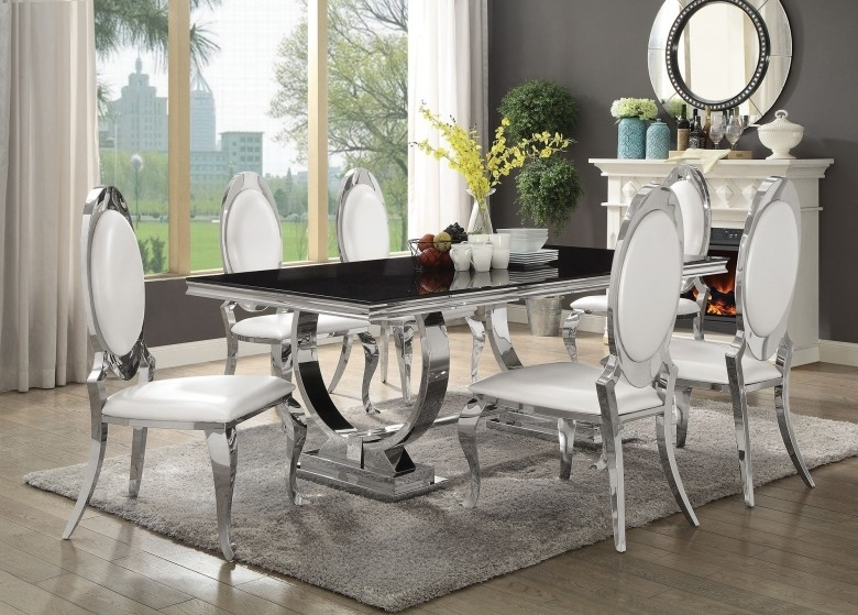 Coaster Antoine Chrome Dining Table – Antoine Collection: 7 Reviews Regarding Chrome Dining Room Sets (Image 7 of 25)