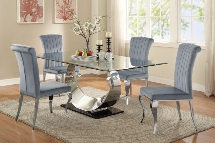 Coaster Manessier Chrome Dining Room Set – Manessier Collection: 5 Regarding Chrome Dining Room Sets (View 19 of 25)