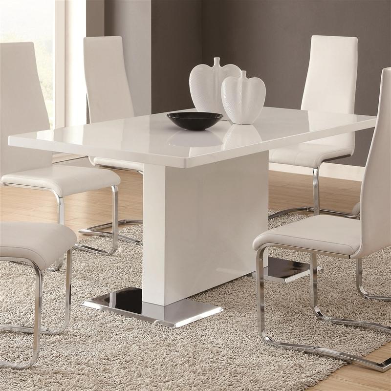 Coaster Nameth Dining Table Dallas Tx | Dining Room Dining Tables With Shiny White Dining Tables (View 16 of 25)