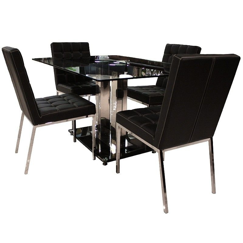 Coaster Prada Dining Table & 4 Chairs – Dining Room, Dining Table Regarding Helms 7 Piece Rectangle Dining Sets With Side Chairs (View 15 of 25)