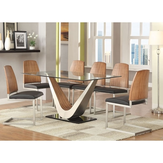 Cobra Clear Glass Top Dining Table In Walnut Base And 6 Regarding Walnut Dining Tables And 6 Chairs (Image 14 of 25)
