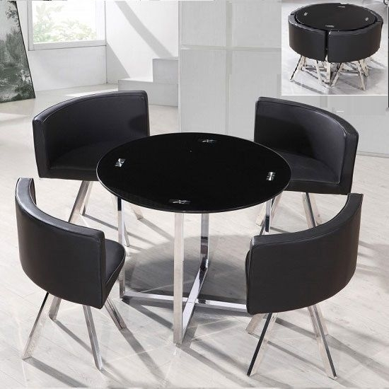 Coco Round Black Glass Dining Table With 4 Chairs | Kitchen Corner Inside Black Glass Dining Tables And 4 Chairs (Image 10 of 25)
