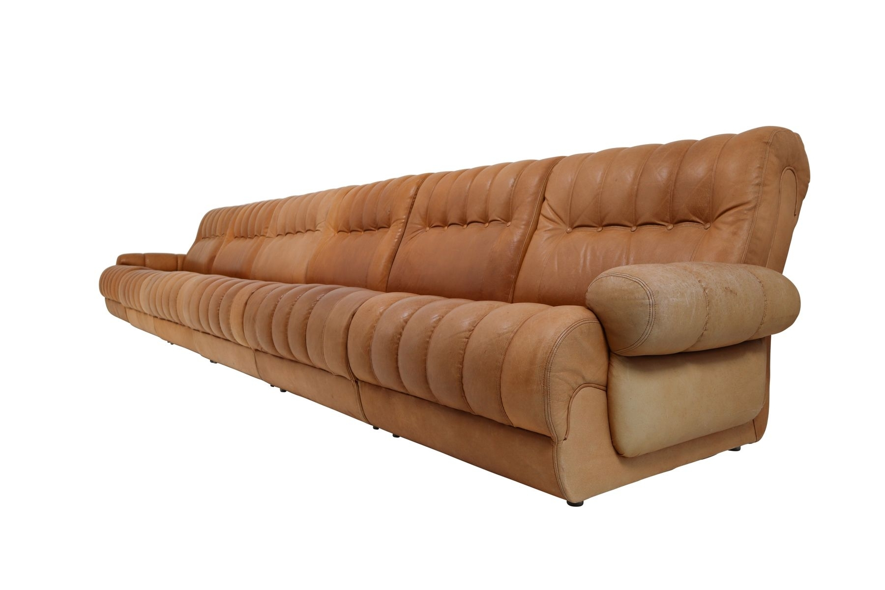 Cognac Leather Sectional Sofa | Baci Living Room Regarding Tenny Cognac 2 Piece Left Facing Chaise Sectionals With 2 Headrest (Image 7 of 25)