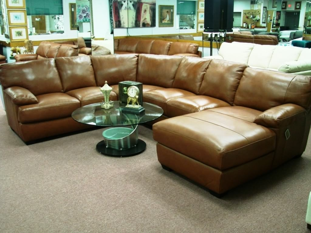 Cognac Leather Sectional Sofa | Baci Living Room with regard to Tenny Cognac 2 Piece Right Facing Chaise Sectionals With 2 Headrest