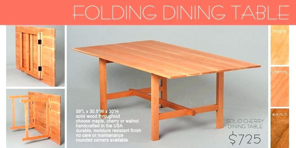 Collapsible Kitchen Table Best Folding Dining Table Collapsible Regarding Wood Folding Dining Tables (Image 5 of 25)