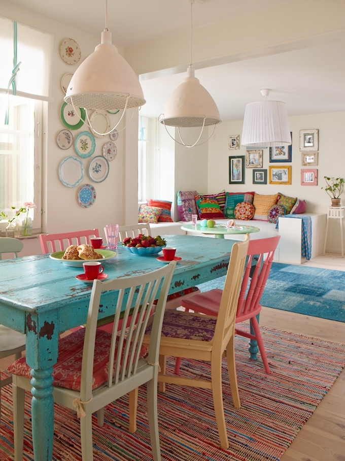 Colorful Painted Dining Table Inspiration Regarding Painted Dining Tables (Image 7 of 25)
